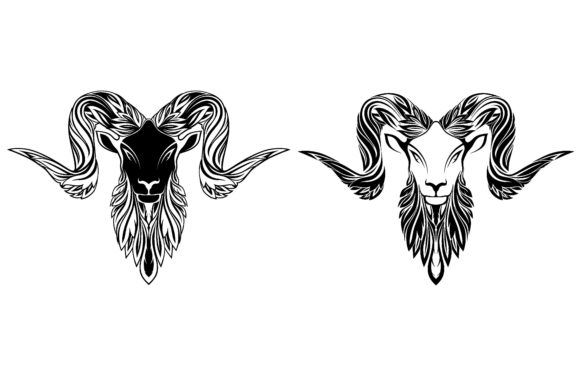 Goat Head in the Ornament Graphic Objects By etinurhayati0586
