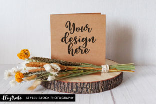 Print on Demand: Greeting Card and Dried Flowers Mockup Graphic Product Mockups By illuztrate