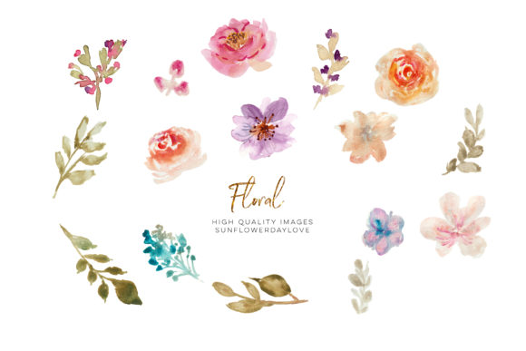 Print on Demand: Hand Painted Watercolour Floral Clipart Graphic Illustrations By SunflowerLove