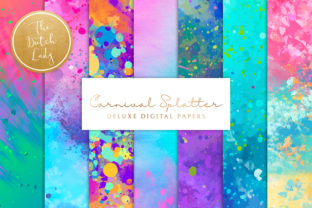Print on Demand: Happy Carnival Splatter Backgrounds Graphic Backgrounds By daphnepopuliers