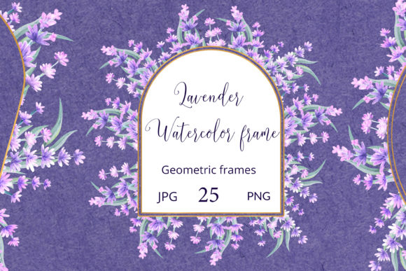 Print on Demand: Lavender Sprigs. Watercolor Frames Graphic Illustrations By Natika_art
