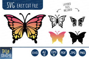 Layered Butterfly SVG Clipart Graphic Illustrations By Pila Studio