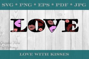 Love with Kisses Valentine's Day Gráfico Crafts Por Designs of Whimsy