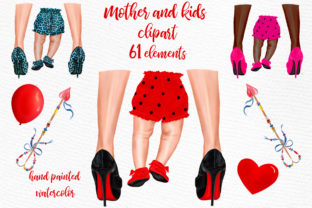 Print on Demand: Mother and Child Clipart Legs Png Graphic Illustrations By LeCoqDesign