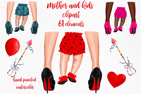 Print on Demand: Mother and Child Clipart Legs Png Grafik Illustrationen von LeCoqDesign