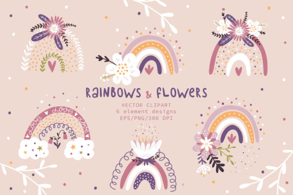 Print on Demand: Rainbows Clipart, Flowers Clipart Graphic Illustrations By FindsArtDesign