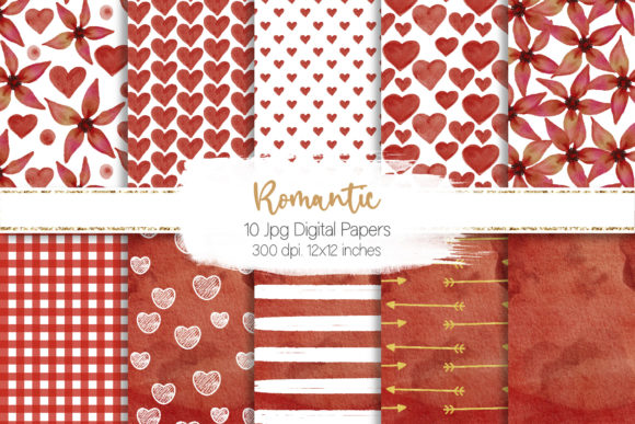 Print on Demand: Romantic Watercolor Digital Paper Set Graphic Backgrounds By loyaarts