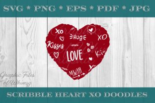 Scribble Heart XO Doodles Graphic Crafts By Designs of Whimsy
