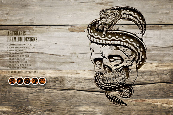 Silhouette  Skull and Snake SVG Clipart Graphic
