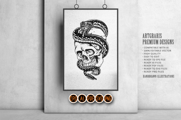 Silhouette  Skull and Snake SVG Clipart Graphic Download