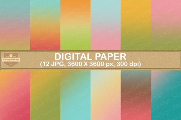 Print on Demand: Sweet Ombre Digital Papers Background Graphic Backgrounds By SineDigitalDesign