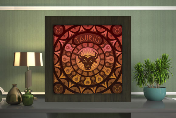Print on Demand: Taurus Zodiac Light Box Shadow Box Graphic 3D Shadow Box By LightBoxGoodMan