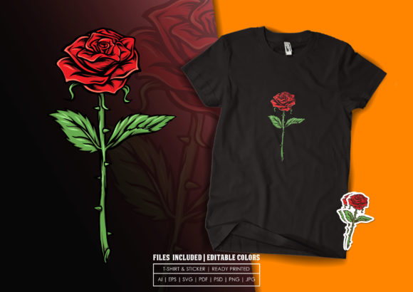 T-shirt Design - Beauty Rose Graphic Print Templates By bagusjulianto