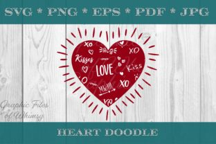 Valentine's Day Heart XO Doodle Graphic Crafts By Designs of Whimsy
