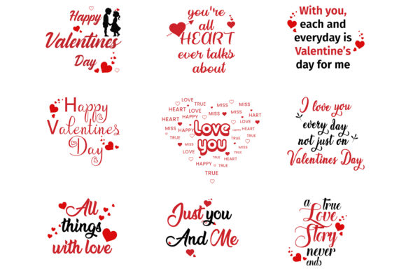 Print on Demand: Valentines Quotes Bundles Grafik Illustrationen von Extumus