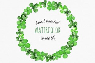 Watercolor Clover and Shamrock Wreath Graphic Illustrations By RedDotsHouse