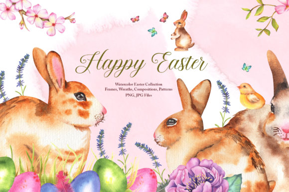 Print on Demand: Watercolor Easter Set Graphic Illustrations By tanatadesign