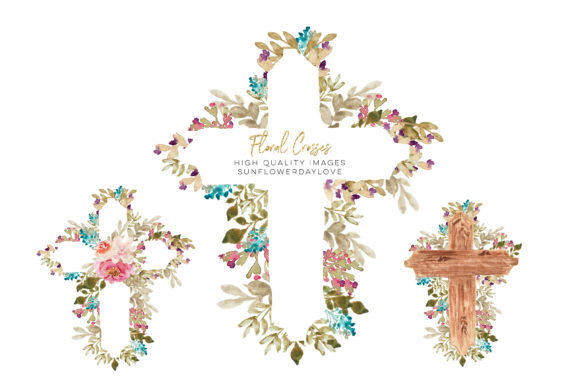 Print on Demand: Watercolor Floral Crosses Clipart Baptis Graphic Illustrations By SunflowerLove