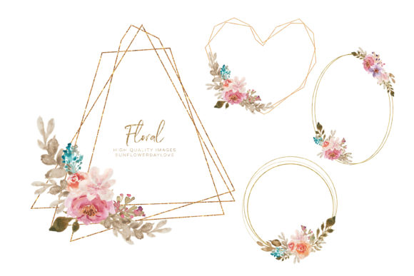 Print on Demand: Watercolor Floral Gold Frame Clipart Graphic Illustrations By SunflowerLove