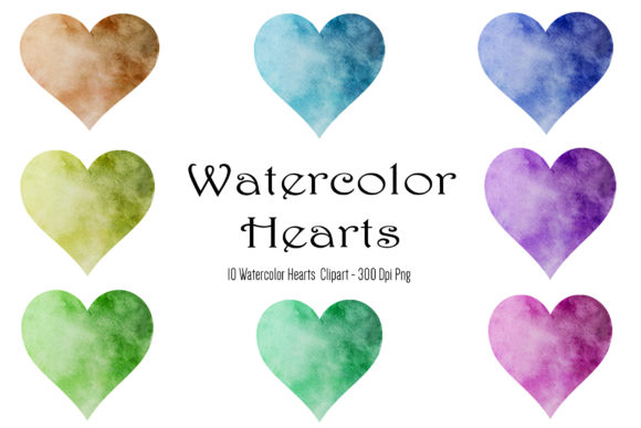 Watercolor Heart Clipart, Valentines Day Graphic Objects By BonaDesigns