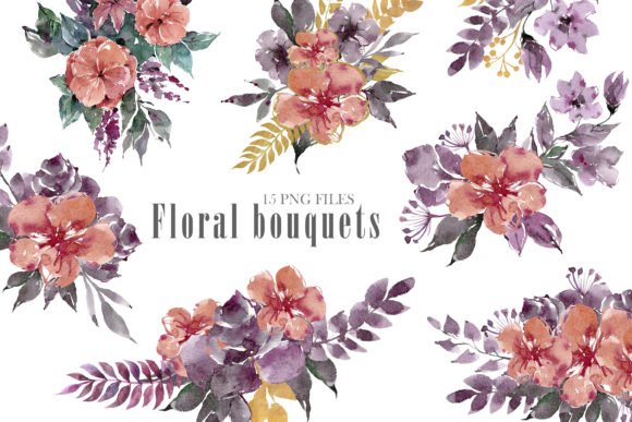 Print on Demand: Watercolor Bouquets and Wreaths Clipart Graphic Illustrations By Tiana Geo