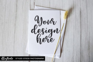 Print on Demand: White Greeting Card Styled Stock Photo Graphic Product Mockups By illuztrate