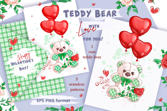 White Teddy Bear for Valentine's Day. Cl Graphic Illustrations By Maycat