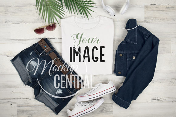 Woman's Cool T-Shirt Flatlay Mockup Graphic Product Mockups By Mockup Central
