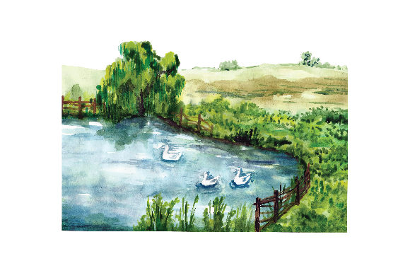 Watercolour Pond Setting Nature & Outdoors Craft Cut File By Creative Fabrica Crafts