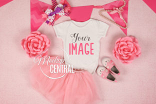 Baby Girl White Onepiece Mockup JPG Graphic Product Mockups By Mockup Central