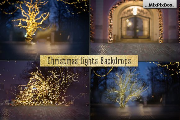 Print on Demand: Christmas Lights Backdrops Graphic Layer Styles By MixPixBox