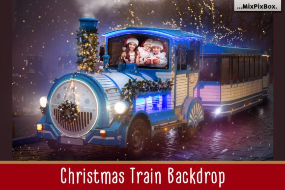 Print on Demand: Christmas Train Backdrop Graphic Layer Styles By MixPixBox