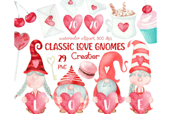 Classic Valentines Day Gnome Graphic Illustrations By KARIMZA watercolor