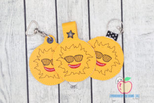 Cool Cartoon Sun ITH Keyfob Design Summer Embroidery Design By embroiderydesigns101