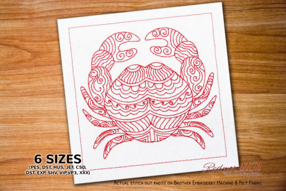 Crab Zodic Horoscope Astrology Sign Fish & Shells Embroidery Design By Redwork101