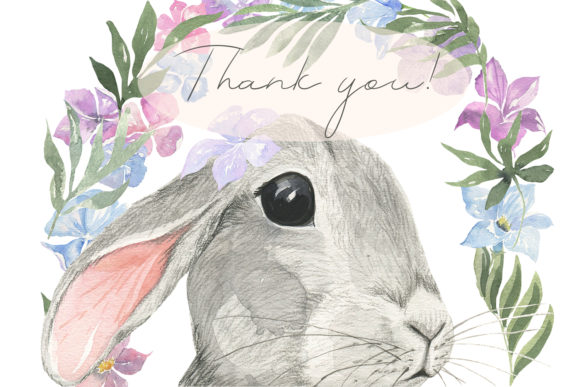 Curious Rabbit. Watercolor. Graphic Preview