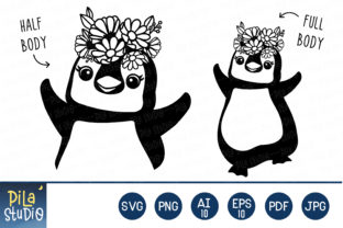 Cute Penguin Flower Crown SVG Clipart Graphic Illustrations By Pila Studio