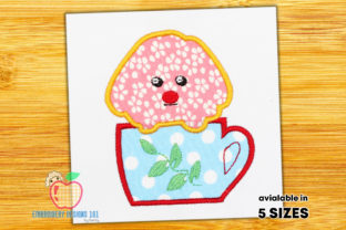 Cute Puppy in the Tea Cup Applique Tea & Coffee Embroidery Design By embroiderydesigns101