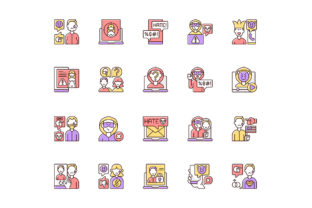 Print on Demand: Cyberbullying RGB Color Icons Set Graphic Icons By bsd studio