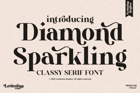 Print on Demand: Diamond Sparkling Serif Font By letterenastudios