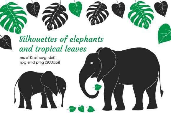 Print on Demand: Digital Silhouettes of Elephants, Leaves Graphic Illustrations By Alena Sas Store