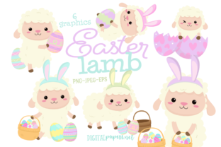 Print on Demand: Easter Lamb Clipart Set Graphic Illustrations By DigitalPapers