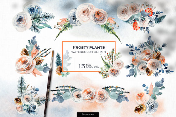 Frosty Bouquets Set Graphic Illustrations By HappyWatercolorShop