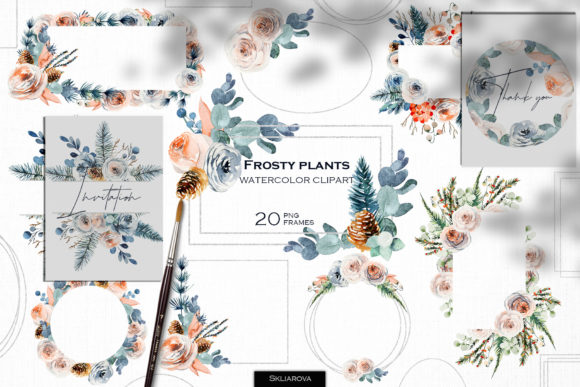 Frosty Floral Frames Set Graphic Illustrations By HappyWatercolorShop