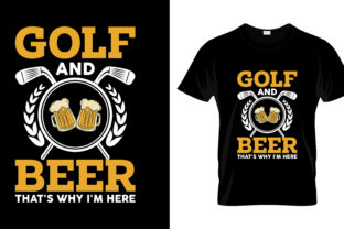 Print on Demand: Golf and Beer T Shirt Design Graphic Print Templates By merchbundle