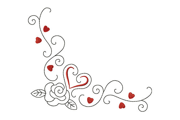 Print on Demand: Heart and Rose with Curls Valentine's Day Embroidery Design By EmbArt