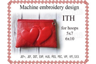 Hearts Zip Bag in the Hoop Sewing & Crafts Embroidery Design By ImilovaCreations