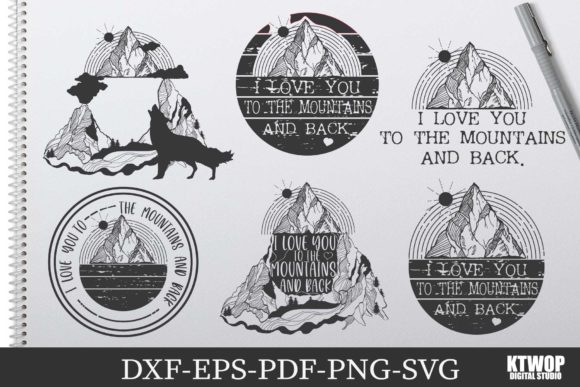 Print on Demand: I Love You to the Mountains 6 Bundle Graphic Crafts By KtwoP