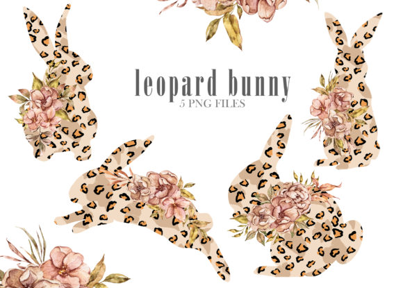 Leopard Floral Bunny Clipart Graphic
