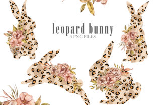 Print on Demand: Leopard Floral Bunny Clipart Graphic Illustrations By Tiana Geo
